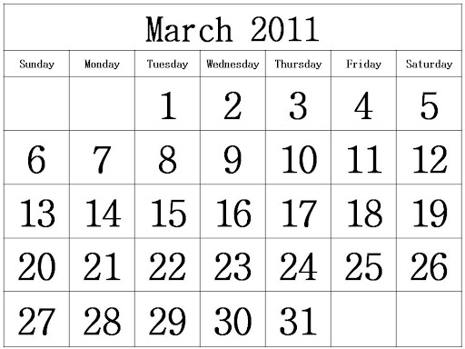 printable calendars march 2011. Free Homemade Calendar 2011