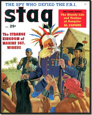 STAG, April 1958 Xmas spoof, James Bama art REV
