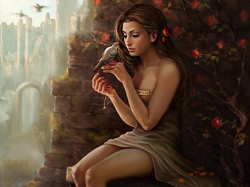 Girl Speaking With Bird, Magic Beauties 3
