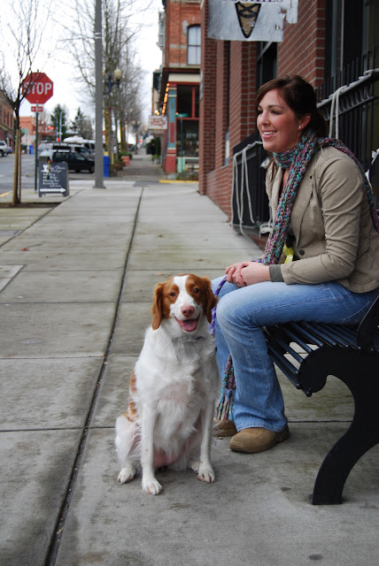 Christina with her dog, Daisy, outside of Chispa Scooters in Fairhaven / Credit: Bellingham Whatcom County Tourism