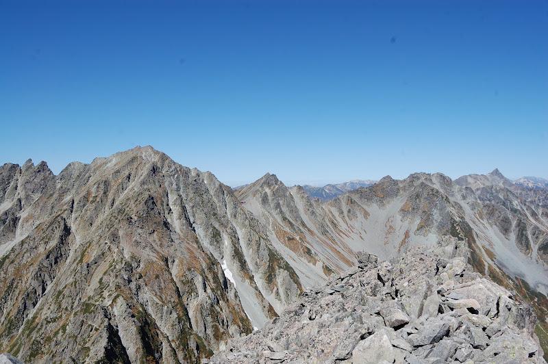 槍ヶ岳から北穂高岳、涸沢岳と奥穂高岳