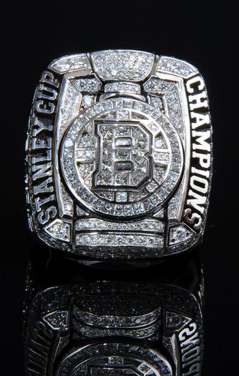 A front view of the 2010-2011 Boston Bruins Stanley Cup champions ring
