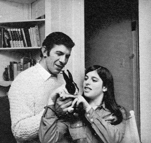 Leonard Nimoy, an unknown person, and a bunny