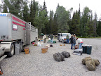 Getting all the gear sorted and the loads weighed and balanced before heading into the back country is a big task!