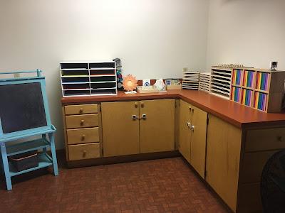 Montessori Art and Geography materials including, easel, science work, and geography materials