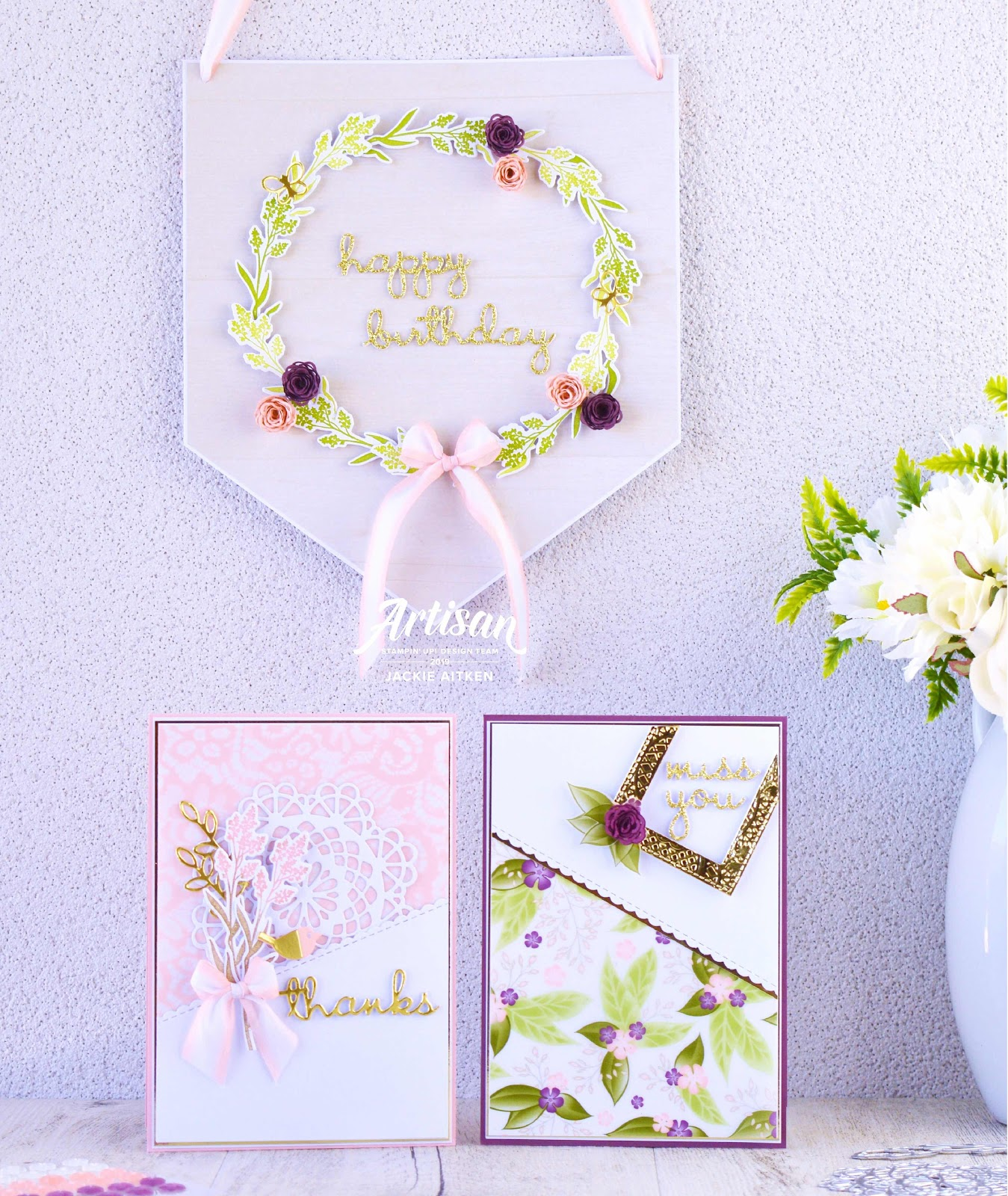 Dear Doily, Jaxx Crafty Creations, Stampin' Up!, Well Said, Well Written Framelits, Lace Dynamic TI Embossing Folder, Floral, cards and banner, Romance DSP, Artisan Design Team 2019, Artisan Blog Hop,