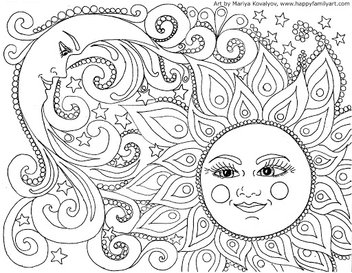 HD Psychedelic Sun Coloring Pages Print Pictures