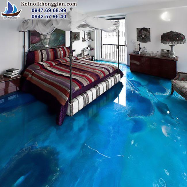 thiết kế phòng ngủ với nền nhà 3d