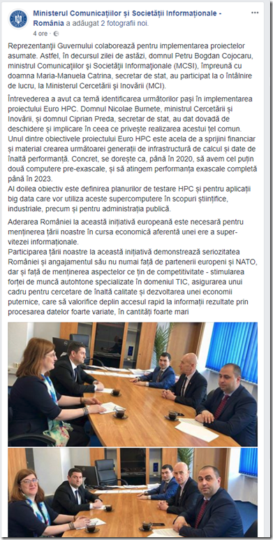 2018 03 28 FB MCSI si MCI despre EuroHPC