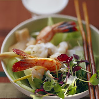 Shrimp Salad with Japanese Onion, Ginger and Carrot Dressing