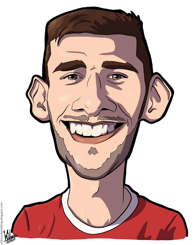 Cartoon caricature of Eduardo Salvio.