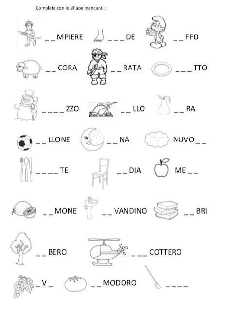 Boscofiorito completa sillabe for Parole capricciose esercizi