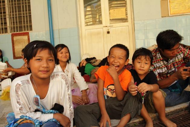 Friendly Kids at Sule Pagoda, Yangon, Burma