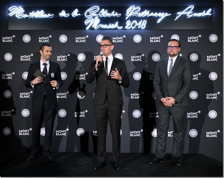 MUNICH, GERMANY - APRIL 26: Vincent Montalescot, Executive Vice President Marketing Montblanc International, Sam Bardaouil, Chairman Montblanc Cultural Foundation, and Till Fellrath, Chairman Montblanc Cultural Foundation,   during the Montblanc de la Culture Arts  Patronage Award at Residenz on April 26, 2018 in Munich, Germany. (Photo by Gisela Schober/Getty Images for Montblanc)