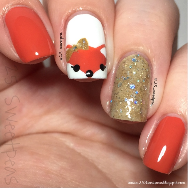Fox Nail Designs: Woodland Animals: Fox Nail Art