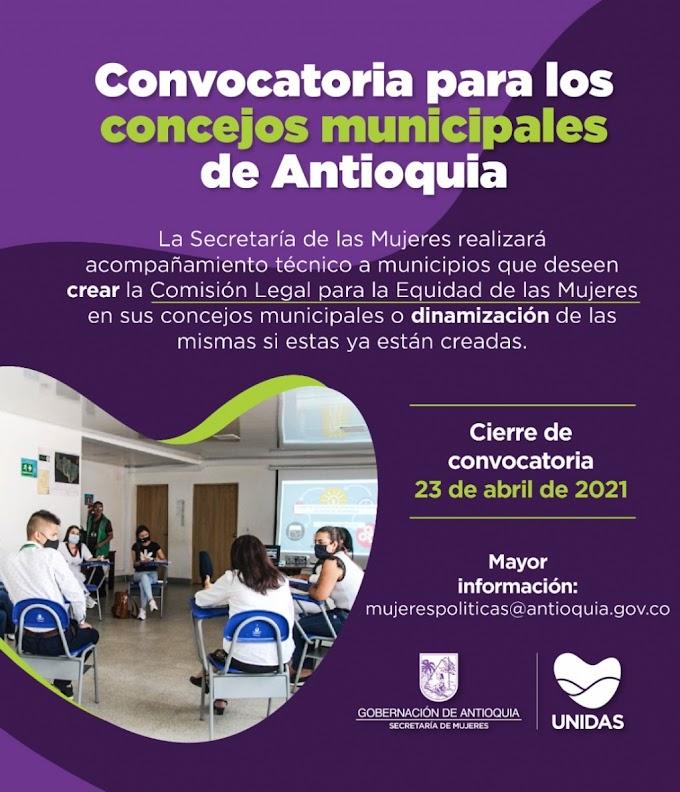 Secretaría de las Mujeres de Antioquia abre convocatoria para brindar acompañamiento técnico a Concejos Municipales que quieran crear o fortalecer comisiones para la equidad de la mujer