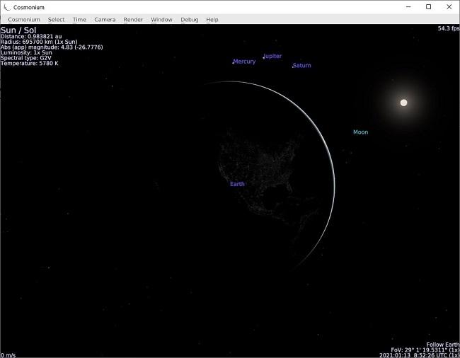 Cosmonium برنامج مجاني لعلم الفلك ثلاثي الأبعاد واستكشاف الفضاء