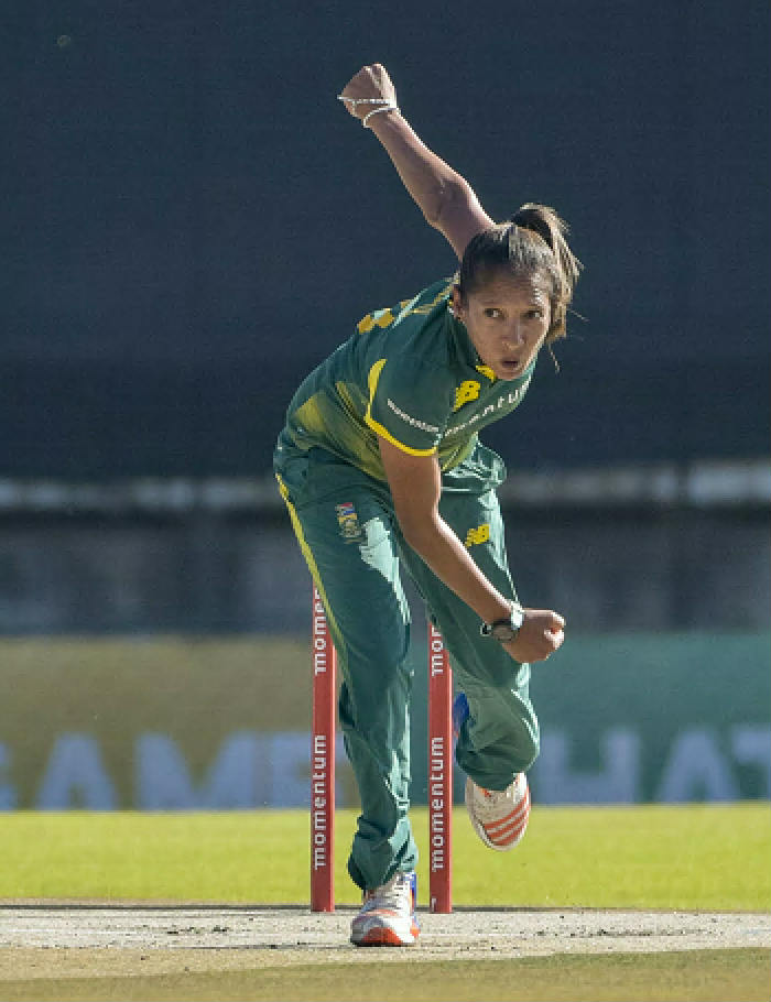 Shabnim Ismail of South Africa sends the ball down the pitch during the fifth women's ODI match against Bangladesh at Bloemfontein's Mangaung Oval yesterday