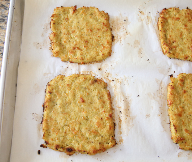overhead photo of the baked cauliflower bread slices