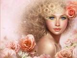Blond Girl Of Roses