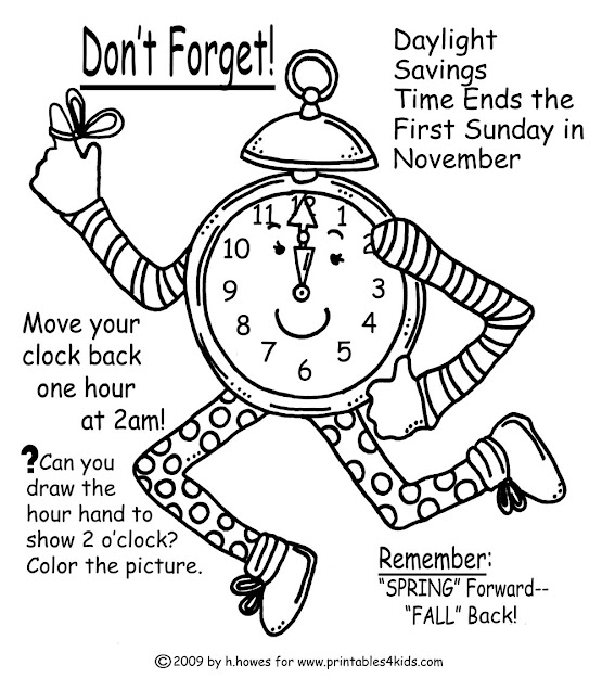 Fall Time Change Reminder Coloring Page  Printables For Kids  Free Word  Search Puzzles