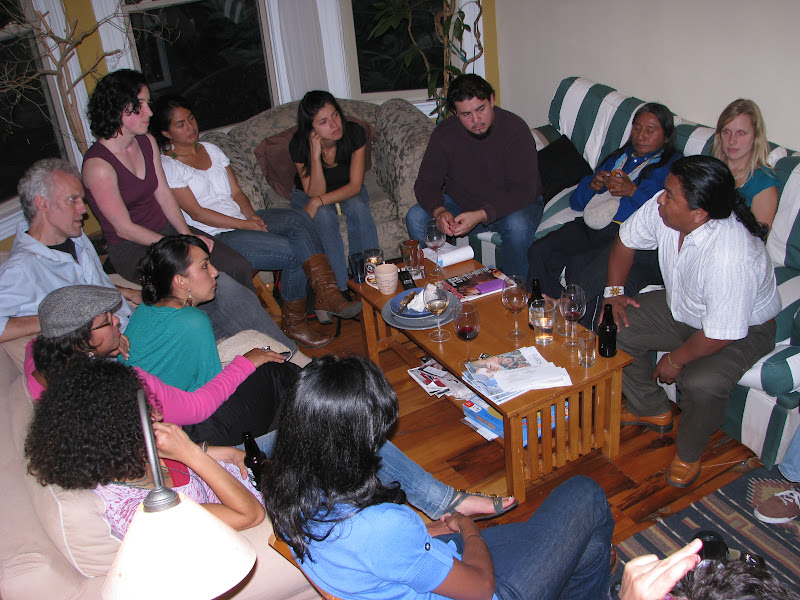 The tour's first public event was a living-room chat with the Bay Area activists who participate in the Colombia Aquí Collective.