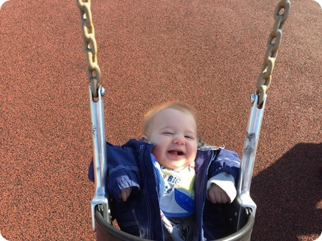 Henry's First Swing at the Playground!