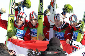 Austrian team celebrating their gold medal