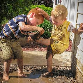 Come on Bro, it's mud bath time! by Sean Malley - Babies & Children Children Candids