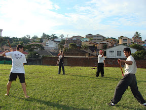 Practicing Gun (staff) sparring for the demo
