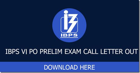 IBPS PO Prelims call Letter 2016