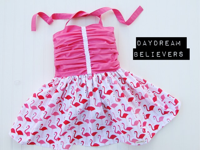 Girls rockabilly style ruched bodice hot pink flamingo dress by Daydream Believers Designs