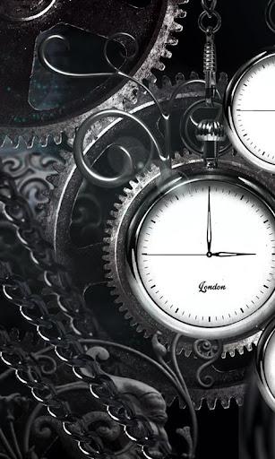 Black clock live wallpaper HD
