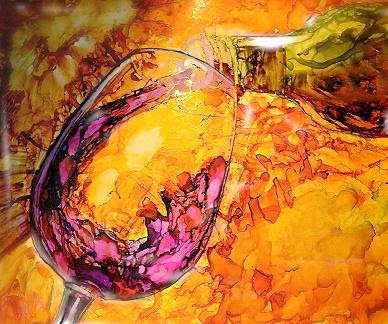 """Wine Pouring"" by Artist Sherry Salant. Alcohol Ink. $125.00"