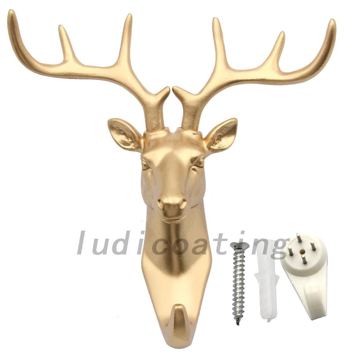 New hot animal deer stags head hook wall hanger rack holder resin home decor ebay - Decorative stags head ...