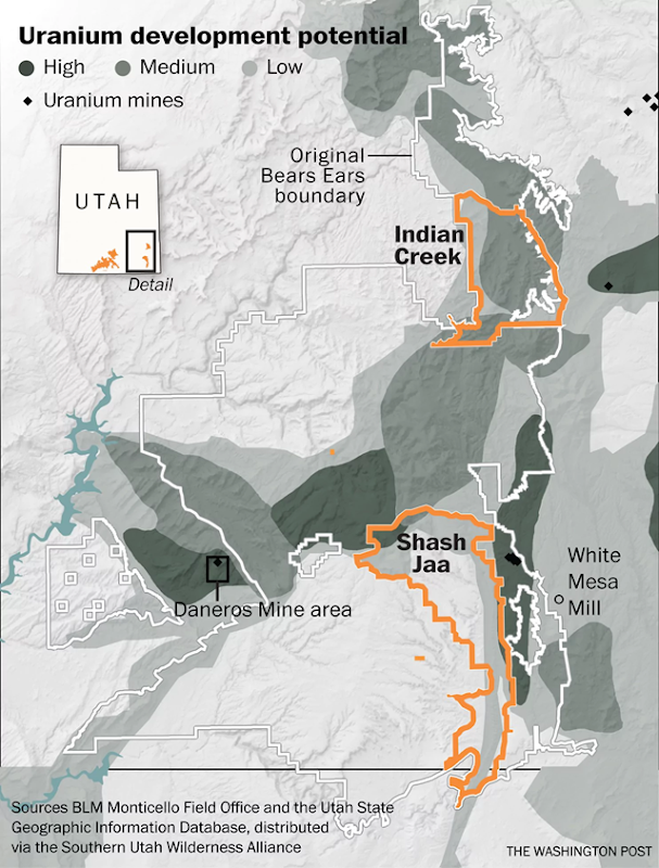 Uranium development potential in Utah, with the original boundary of the Bears Ears National Monument indicated, before Trump reduced its size to accomodate Energy Fuels Resources (USA) Inc. Graphic: The Washington Post