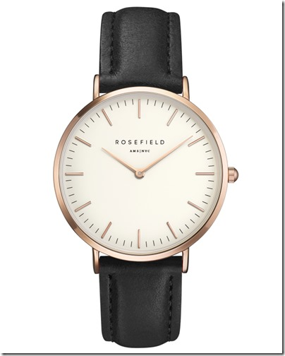Rosefield Watch - The Bowery White Black Rose Gold Case