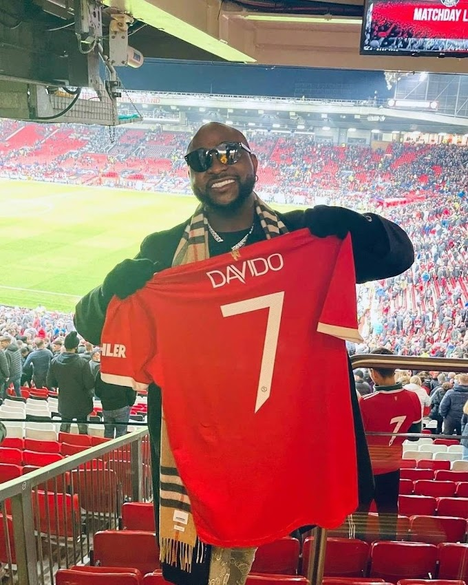 Davido Dumps Chelsea, Welcomed To Manchester United With The No.7 Jersey (See Photos)