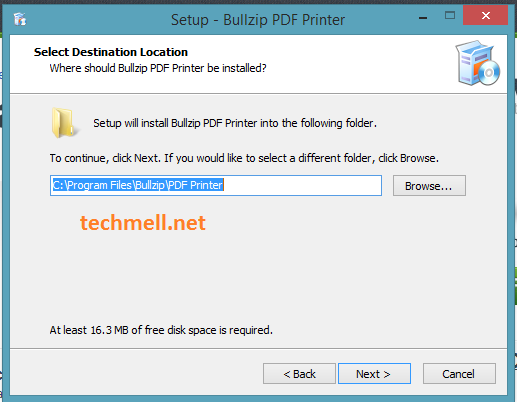 Drive Selection for Installation of Bullzip PDF Printer in Windows 8.1