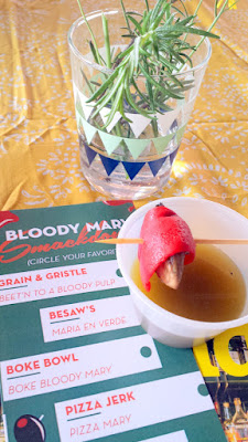 Portland Monthly Country Brunch 2016 - Bloody Mary Smackdown contender Besaw's with Maria en Verde, with under ripened green tomatoes used to make a green bloody mary garnished with a smoked oyster
