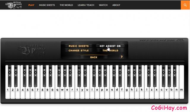 Làm quen với bàn phím đàn Piano online