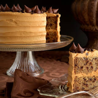 BANANA-CHOCOLATE CHIP CAKE with PEANUT BUTTER FROSTING.