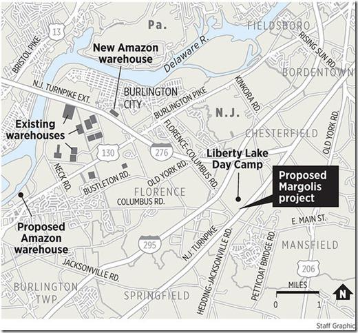 Burlco warehouse map - Inquirer graphic