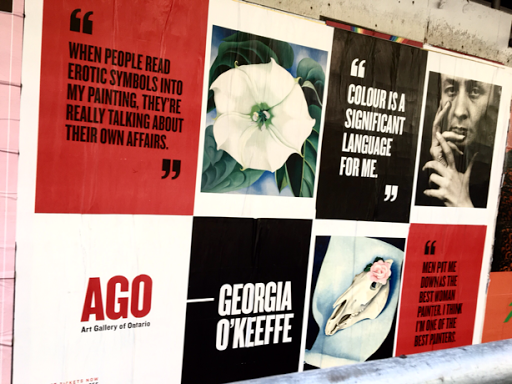 Posters for the Georgia O'Keeffe exhibit at the Art Gallery of Ontario