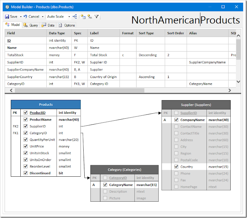 """Changing the name of the model to """"NorthAmericanProducts""""."""