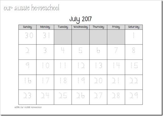 Calendar Notebook 2017-18   Our Aussie Homeschool
