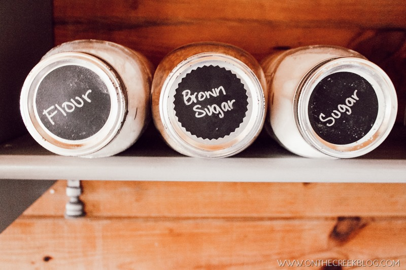 Mason jar baking supply storage