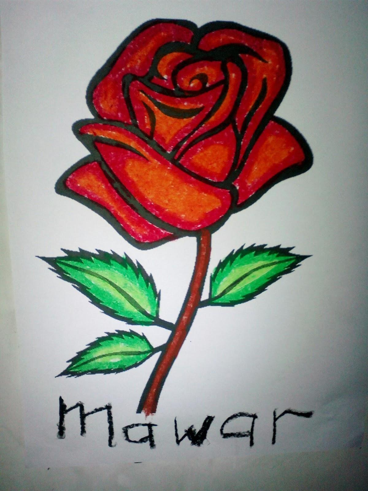 Contoh Mewarnai Bunga Mawar Gambar Mewarnai Gratis