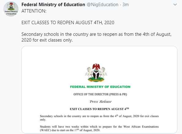 Resumption date for students