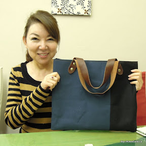 帆布のアレンジトートバッグ(紺X黒)